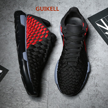 GUIKELL Men's shoes spring European lovers hand woven leather breathable casual thick soled sneakers