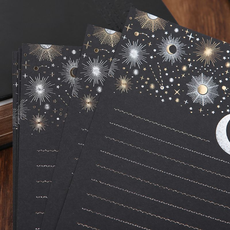 12pcs/pack Starry Sky Writing Letter Stationery Romantic Creative Small Fresh Japanese Style Letterhead Note Paper