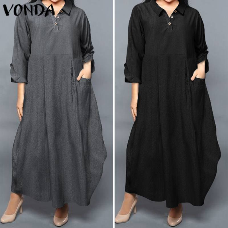 Винтажное платье VONDA, весна-лето 2020, повседневное Свободное длинное платье макси с длинным рукавом и отворотом, большие размеры, богемное пл...