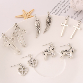 Korea Harajuku Cool Girl Hearts Cross Chain Tassel Pendant Earrings For Women Bff Hip Hop Jewelry image