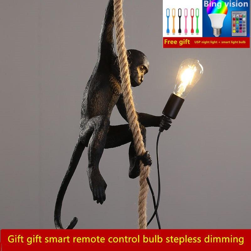 Lámpara colgante de mono blanco y negro de resina para sala de estar, lámparas de habitación de arte, sala de estudio, lustre de luces Led con bombilla Led de atenuación E27