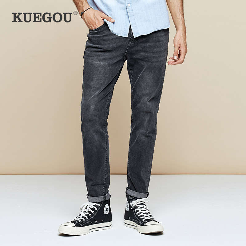 KUEGOU 2019 Autumn Cotton Black Distressed Skinny Jeans Men Streetwear Brand Slim Fit Denim Pants For Male Stretch Trousers 2975