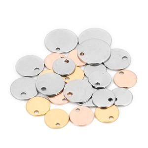 20pcs/lot Stainless Steel Charms Pendant Round Stamping Blank Stamping Dog Tag Charms For Necklace DIY Jewelry Making Wholesale