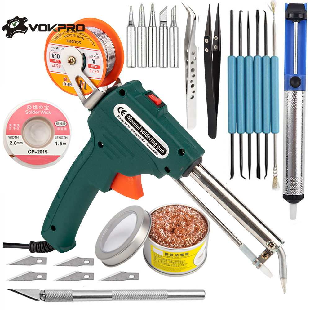 60W Tin Electric Soldering Iron Kit Automatic Send Tin Gun Electric Solder Station Tip Sucker Tweezers Wire Welding Tools(China)