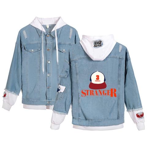 Aikooki Hot Sale Stranger Things Jean Jacket Men/Women Fashion Casual Jean Coats Print Stranger Things Jean Wear Jacket Clothes Multan