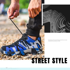 Image 5 - Nmsafety 建設男性の屋外鋼つま先キャップワークブーツの靴男性迷彩パンク証拠安全靴通気性