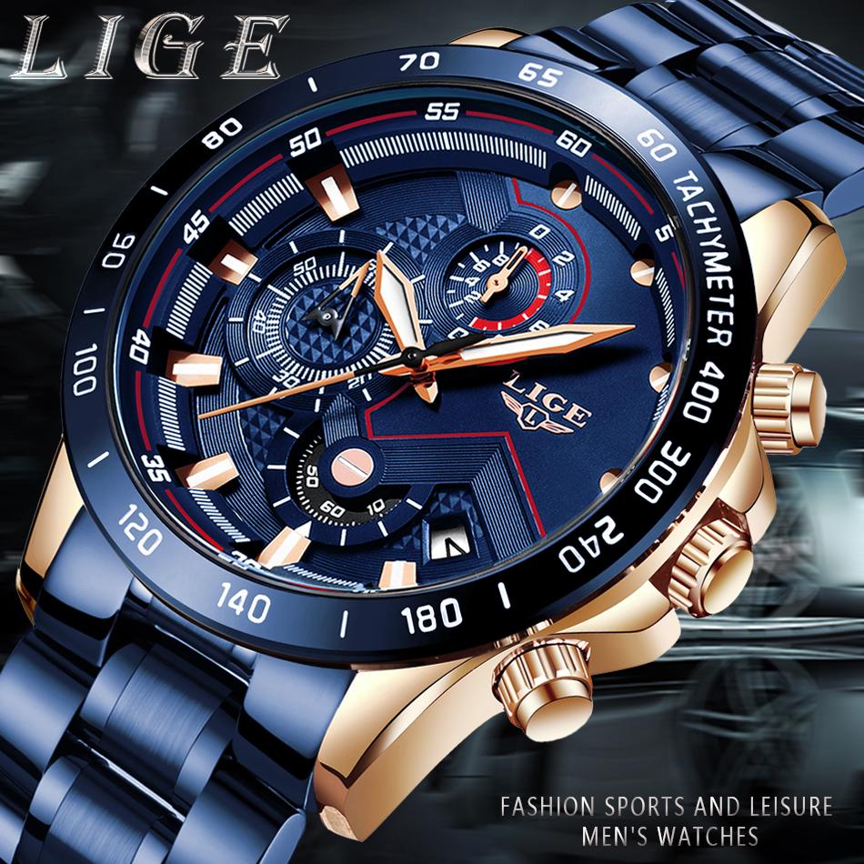 LIGE 2020 nuevos relojes de moda para hombre con Acero Inoxidable marca superior de lujo deportes cronógrafo reloj de cuarzo hombres Relogio Masculino 2