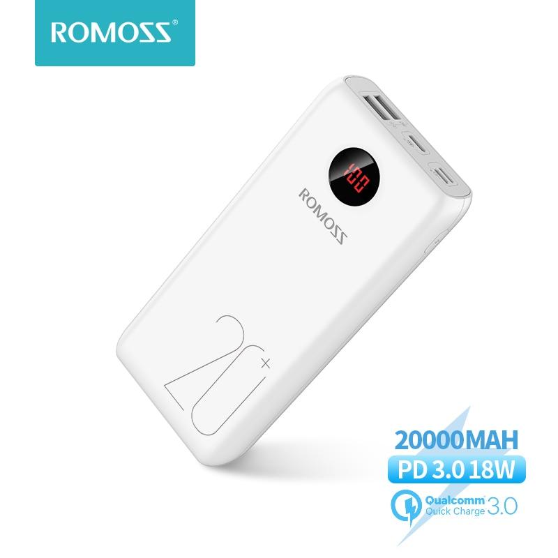 Power Bank 20000mAh ROMOSS 18W Fast Charge Powerbank Type C Poverbank Portable External Battery Char