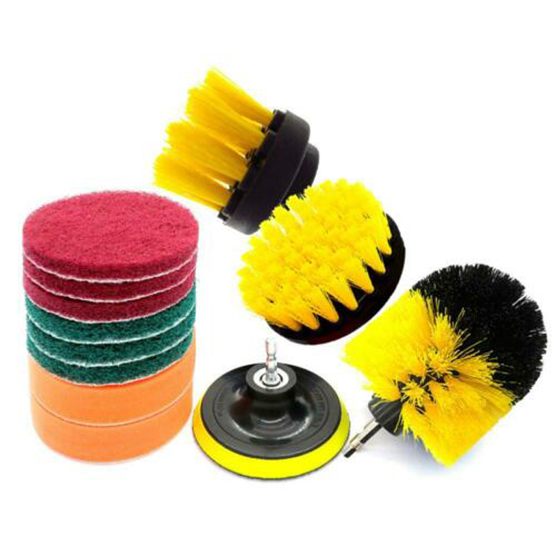 12x Drill Brush Scrub Pads Power Scrubber Cleaning Kits All Purpose Cleaner Pool