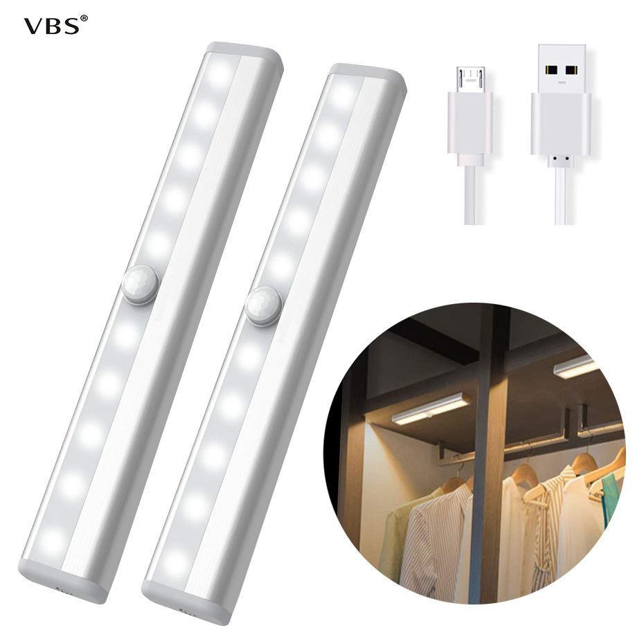 Pir Motion Sensor LED Under Cabinet Light Cupboard Kitchen Sensor Battery Rechargeable Luminaire 6/10LED Closet Lighting Home