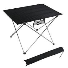 HooRu Roll Portable Table Beach Picnic Hiking Folding Table Outdoor Camping Backpacking Lightweight Aluminum Desk with Carry Bag