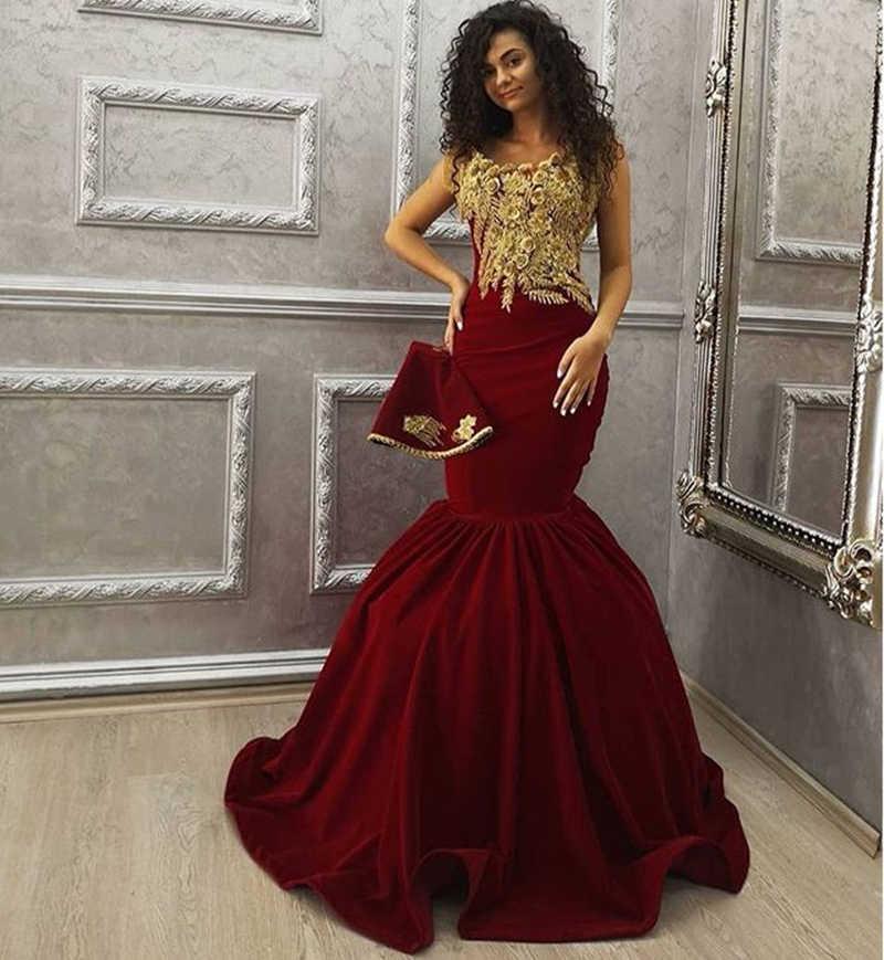 בורגונדי בת ים ארוך ערב שמלות 2020 ערבית דובאי סגנון זהב תחרה נשים פורמליות ערב שמלות Abendkleider