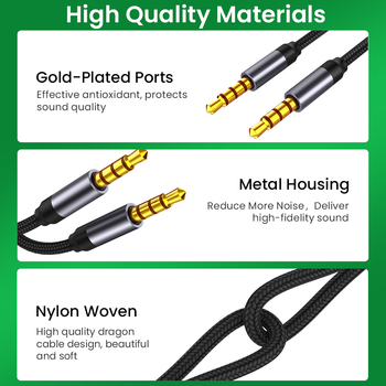 3.5mm AUX Cable Jack male to male Audio Cable 3.5mm Speaker Cable for Headphones Car for Xiaomi Redmi 5 plus Oneplus 5t AUX Cord 6