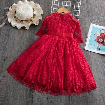 Red Kids Dresses For Girls Flower Lace Tulle Dress Wedding Little Girl Ceremony Party Birthday Dress Children Autumn Clothing 1