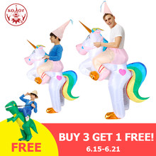 Nouveau licorne gonflable costume adulte équitation cheval Halloween costume fête cosplay costume carnaval noël Fance robe mascotte(China)