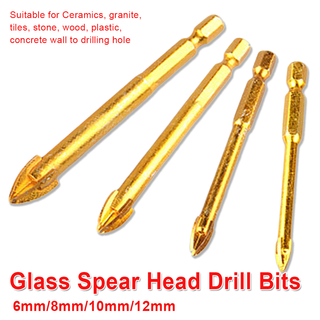 6mm/8mm/10mm/12mm Tungsten Carbide Glass Drill Bit Alloy Carbide Point With 4 Cutting Edge Tile Glass Cross Spear Head Drill Bit