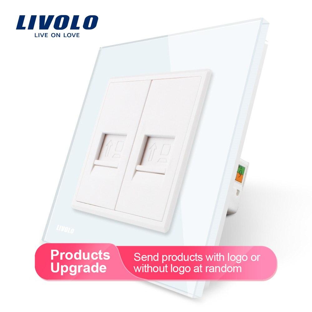 Livolo Manufacture  Crystal Glass Panel, 2 Gangs Computer Socket / Wall Outlet /Plug Socket VL-C792C-11/12/13/15