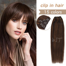 WIT Remy Hair Clip In Human Hair Extensions Natural Black to Light Brown Blonde Straight 7pcs Clip on Hair Extensions 16-24inchs