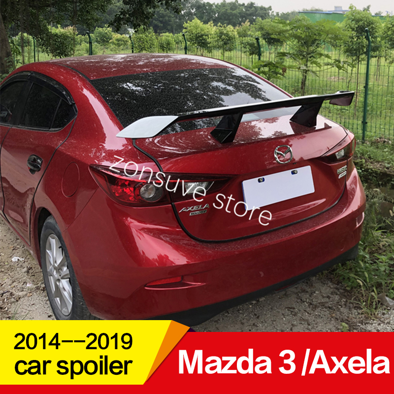 Use for <font><b>Mazda</b></font> 3 /Axela <font><b>spoiler</b></font> 2014 15 16 17 18 19 year ABS plastic material rear wing decoration EX style GT Sport Accessories image