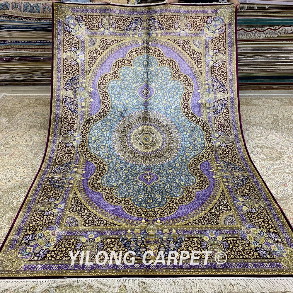 Yilong 6'x9 'tapis en soie fait main vantage traditionnel élégant noué à la main tapis en soie turque (ZQG269A)