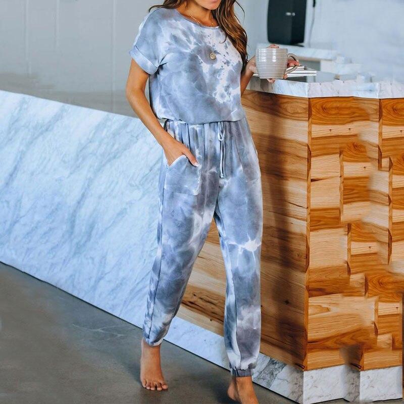 2020 Summer Lounge Wear Set Homewear Women Tie Dye Pajama Set Home Wear Suit Women Sleep Wear Lounge Set Top And Pants