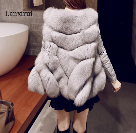 Femmes chaud fausse fourrure une veste d'hiver ajustée avec manteau à manches détachables expédition rapide - 5