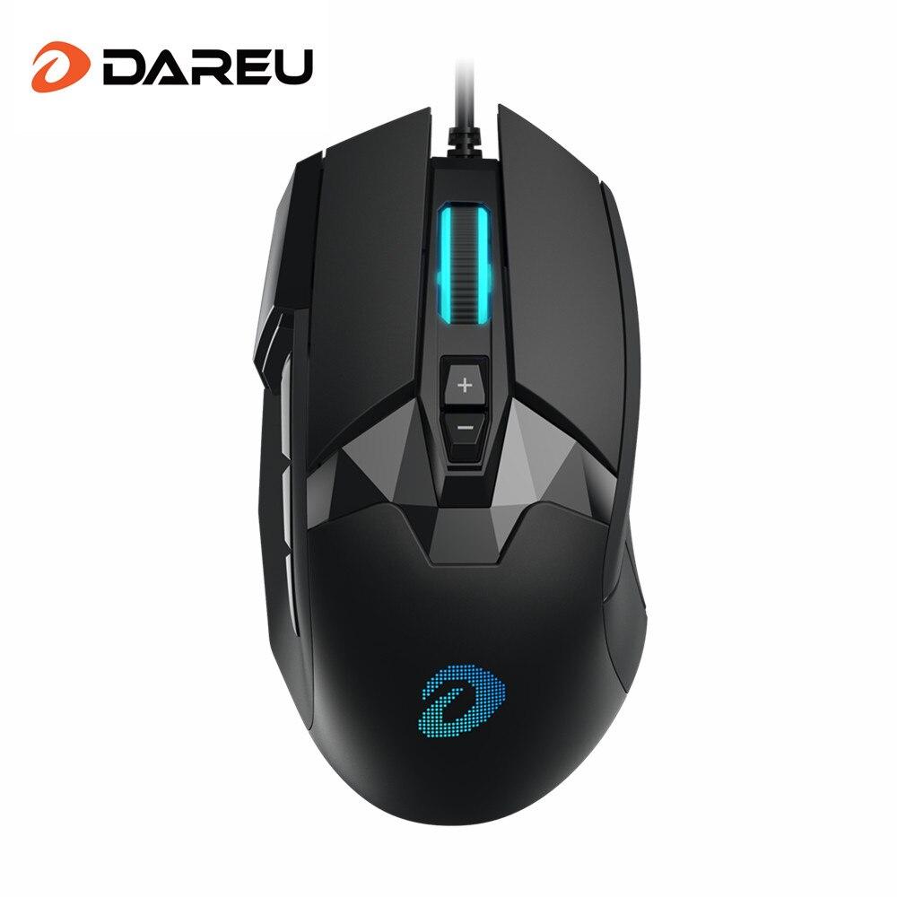 DAREU EM945 PMW3389 Sensor botão Ratos Wired Gaming Mouse 16000DPI 440IPS KBS com Tela OLED & DIY botão Lateral para FPS Gamer