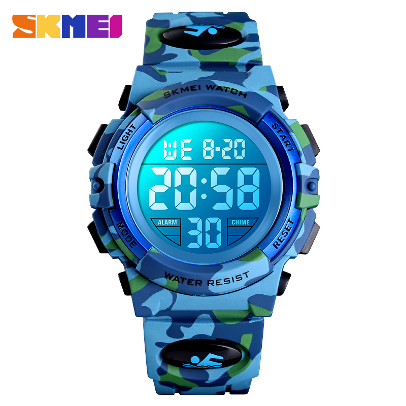 <font><b>SKMEI</b></font> Luxury Outdoor Camouflage Children's Watches Fashion Colorful LED Waterproof Sport Kids Watch For Boy Girls Wristwatches image