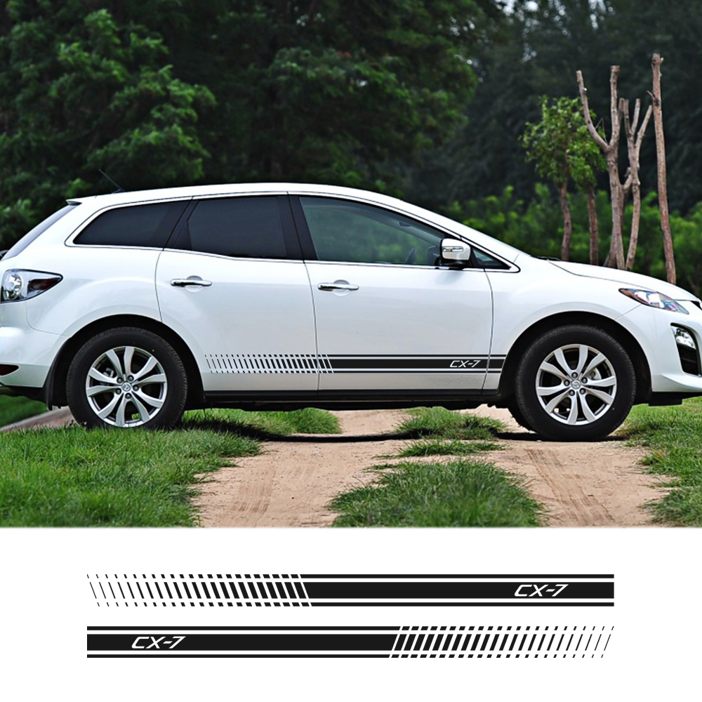2Pcs/lot Car Stickers Sport Stripe Racing Styling Auto Side DIY Vinyl Decor Stickers For Mazda CX7 CX-7 Exterior Car Accessories