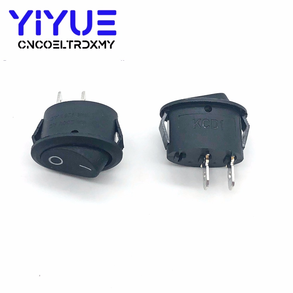 5Pcs Rocker Switch Ellipse Black KCD1 2Pin two position Seesaw Power switch  6A250VAC 10A125VAC toggle switch