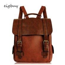 купить Brown Black Backpacks Men Rucksack Fashion Women Backpack Pu Leather School Bag Vintage Large Schoolbag For Teenage Girls по цене 1393.81 рублей