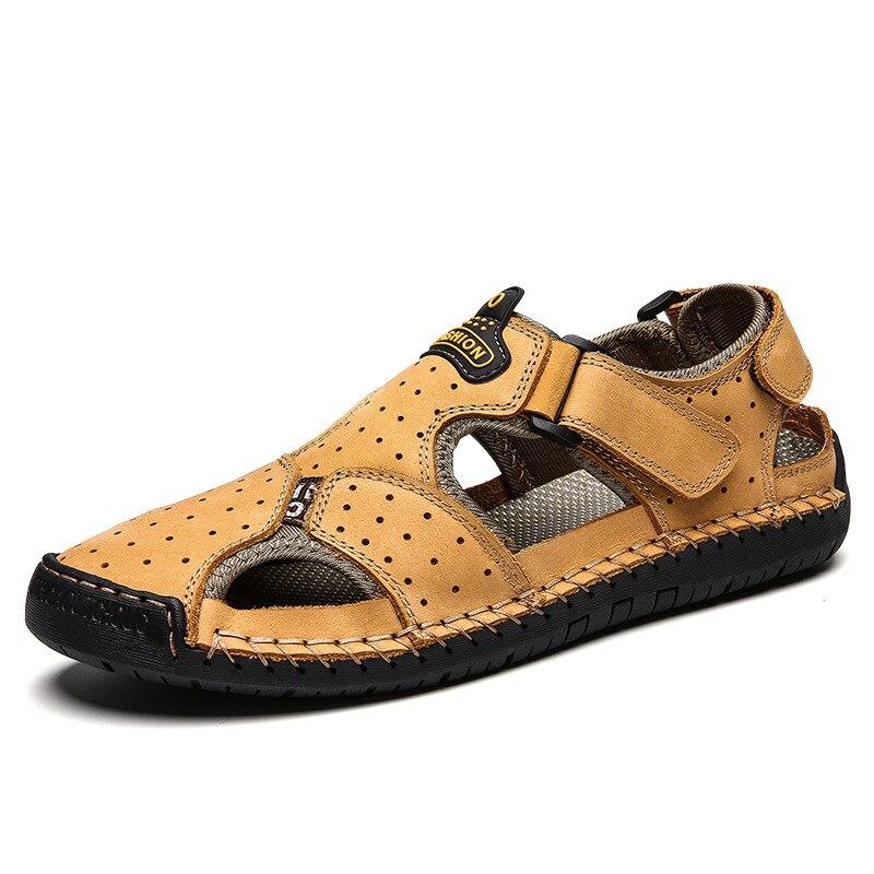 Nouvelles sandales pour hommes grande taille en cuir chaussures décontractées respirant mode chaussures de plage