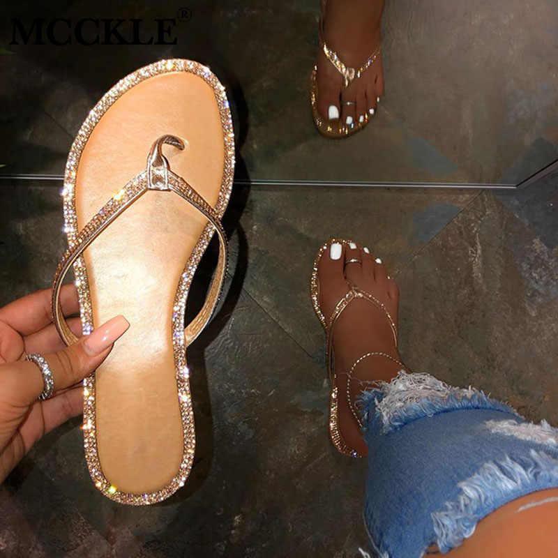 MCCKLE Người Phụ Nữ Vàng Phẳng Bling Dép Người Phụ Nữ Thời Trang Giày Đi Biển Nữ Dép Nữ Trượt Giày Bán Plus kích Thước
