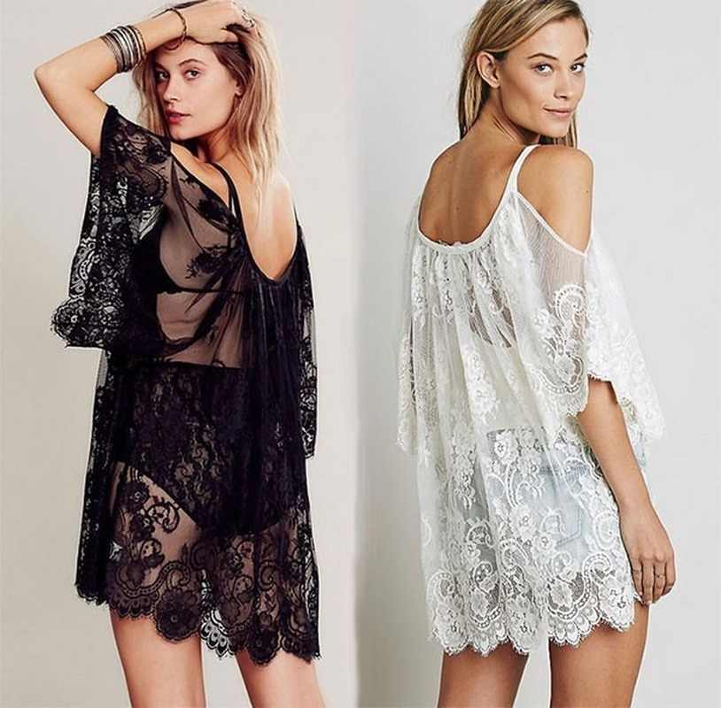<font><b>Women</b></font> <font><b>Summer</b></font> Lace Floral Swimwear Bikini Crochet Cover Up <font><b>Beach</b></font> <font><b>Dress</b></font> Shirt Tops <font><b>Fashion</b></font> <font><b>Sexy</b></font> Loose Hollow Sunscreen Cover-up image