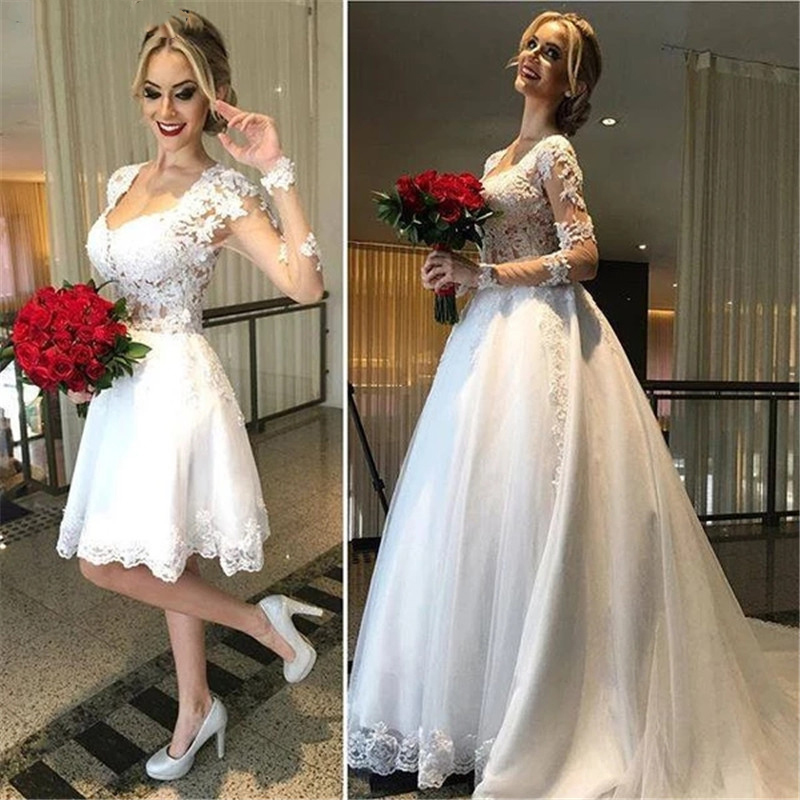 All Lace Wedding Dress: Long Sleeve Lace Wedding Dress 2 In 1 Detachable Skirt