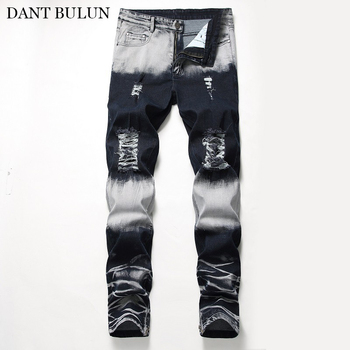 Distressed Jeans For Men Ripped Hole Pants Stretch Slim Denim Biker Jeans Hombre Baggy Straight Casual Trousers Streetwear Pants envmenst brand high quality men s jeans hole casual ripped jeans men hiphop pants straight jeans for men denim trousers