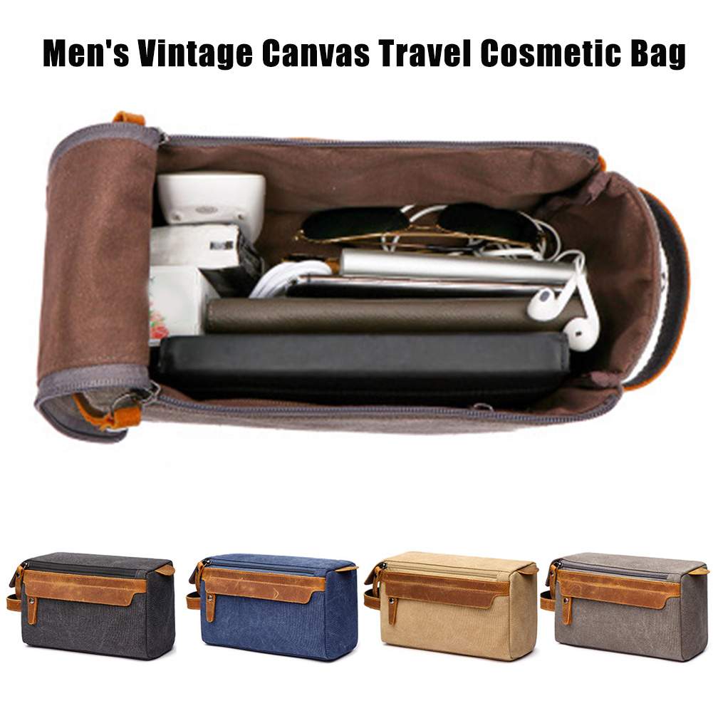 Men Travel Toiletry Bag Canvas Leather Makeup Shaving Storage Pouch With Side Handle Grip H66