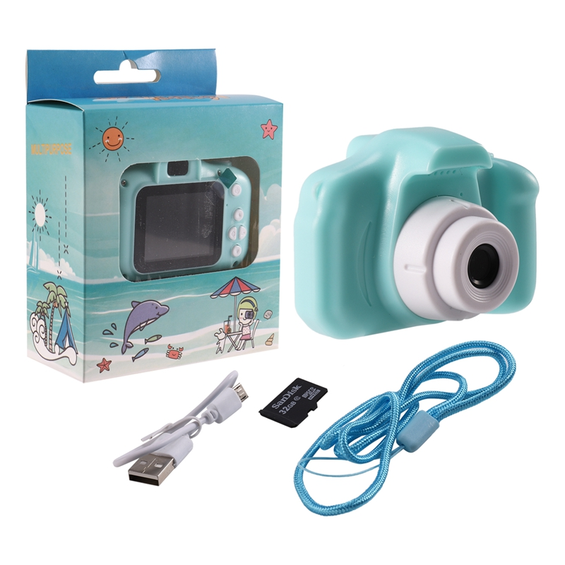Kids Camera Digital Video Recorder Shockproof Action Camera With 2 Inch IPS Screen And 32GB Memory Card, Gift For Girls And Boys