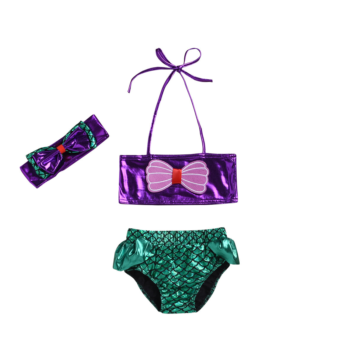 2019 Girls Mermaid Swimming Suit Women's Princess Split Type Camisole Europe And America KID'S Swimwear Bikini Baby Suit