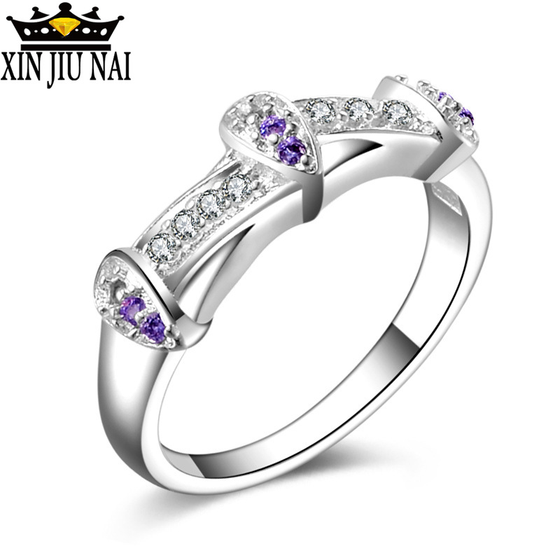 Fantastic Purple 925 Silver Austrian Crystal Cubic Zircon Stone Woman Finger Rings Wedding Engagement Bridal Amethyst Jewelry