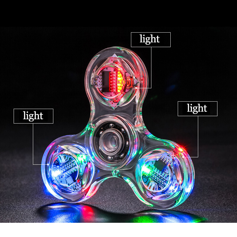Fidget Spinner Glow In The Dark Adult Toy Anti Stress Led Tri-Spinner Autism Toys Kinetic Hand Spinner For Kids