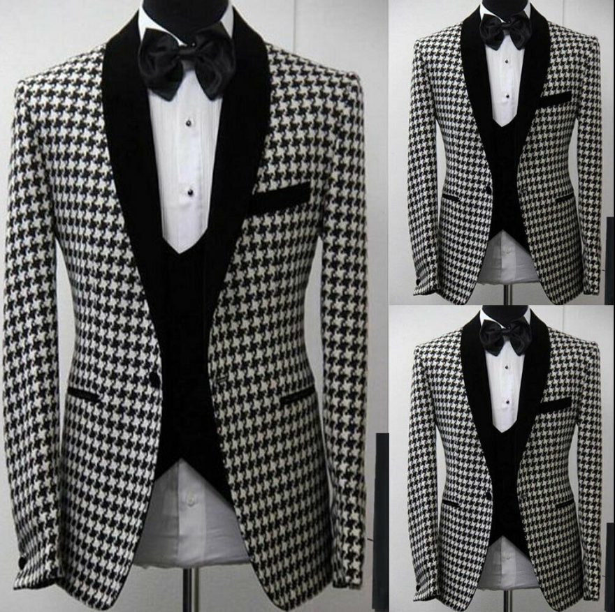2020 Handsome Houndstooth Groomsmen Shawl Lapel Groom Tuxedos Tweed Two Button Men Wedding Formal Prom Suits