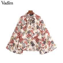 Vadim mujer vintage Blusa con estampado floral pajarita manga flare camisas retro casual dulce blusas mujer LB742