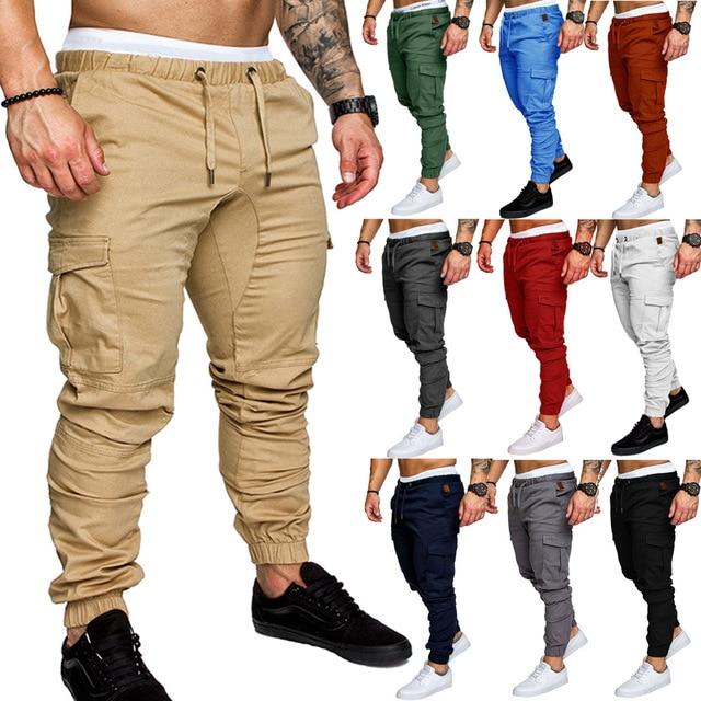 Men Cargo Pants Casual Joggers Mens Solid Color Cotton Long Trousers Pantalon Homme Military  Hip Hop Leggings Tactical Fashion