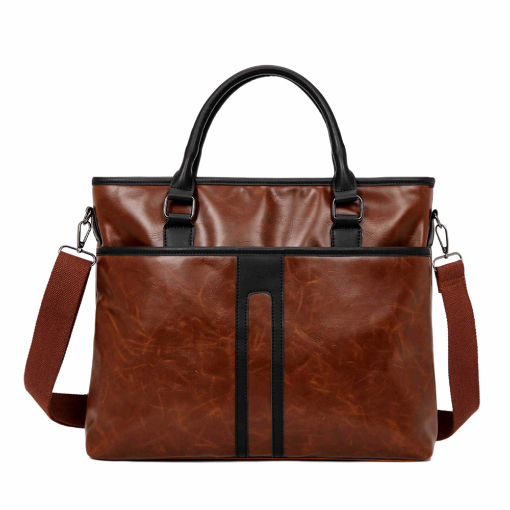 Business Office Laptop Briefcase Men Crazy Horse PU Leather Handbag Male Vintage Work Shoulder Bags Large Brown Tote Waterproof
