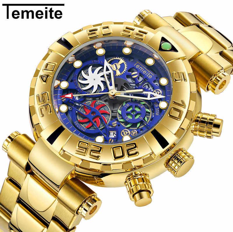 ساعات معصم رجالية جديدة من TEMEITE كوارتز متعددة الوظائف من الفولاذ المقاوم للصدأ ساعات رجالي مقاوم للماء فاخرة من الذهب كرونوغراف إبداعي