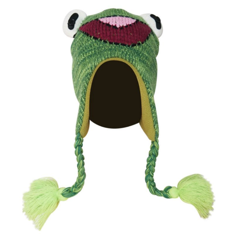 Child Kids Cute Cartoon Frog Knitted Beanie Hat With Earflap Braided Long Tassels Thicken Lining Windproof Winter Cap War Warmer