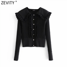 Zevity 2021 Women Sweet Agaric Lace Turn Down Collar Jacquard Mesh Eyes Knitting Sweater Female Chic Casual Cardigans Tops S593