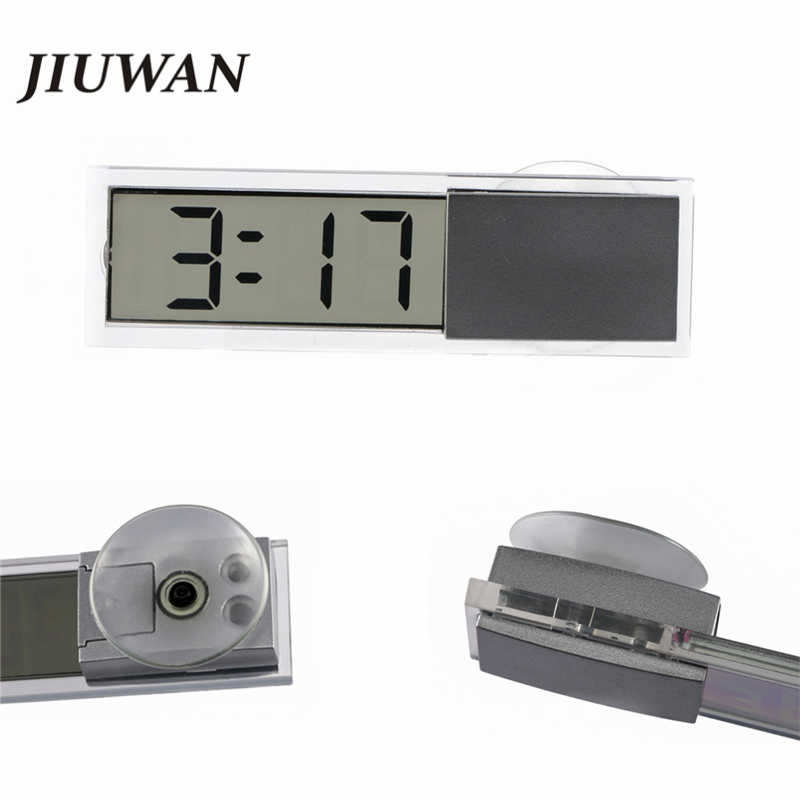 Car Sucker Digital Clock Car LCD Clock Car Electronic Clock Auto Window Clock Transparent LCD Display Universal Car accessories