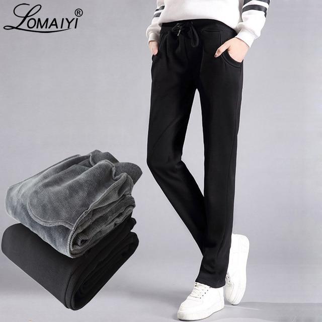 LOMAIYI Plus Size Winter Warm Pants For Women Korean Sweatpants Womens Trousers Female Black Soft Fleece Cotton Pants BW032